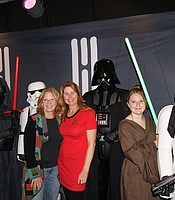 KPBS Associate General Manager for Development and Grants Trina Hester with KPBS Producers Club Committee member Julie Hatch with Star Wars characters at Cinema Under the Stars