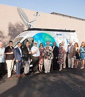 KPBS Live Truck funders with KPBS General Manager Tom Karlo, Assosicate General Manager for Development and Grants Trina Hester, and Director of Development Alex Kim