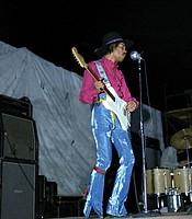 "Jimi Hendrix Experience performs at the 1968 Miami Pop Festival. Performance footage from the festival is among the previously unseen treasures featured in AMERICAN MASTERS ""Jimi Hendrix – Hear My Train A Comin'. """