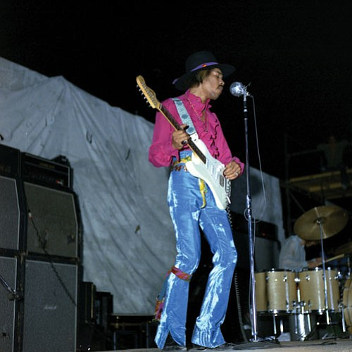 Jimi Hendrix Experience performs at the 1968 Mi...