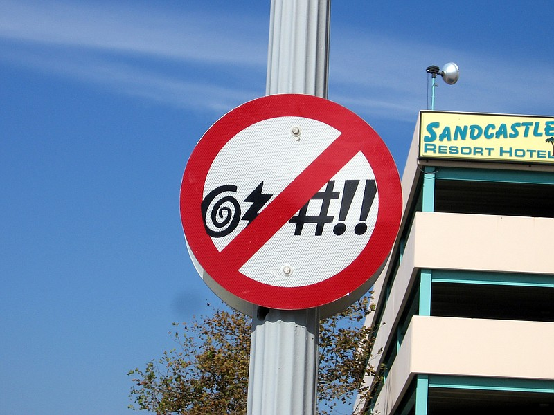 Sign in downtown Virginia Beach, VA reminding visitors of: no swearing ordina...