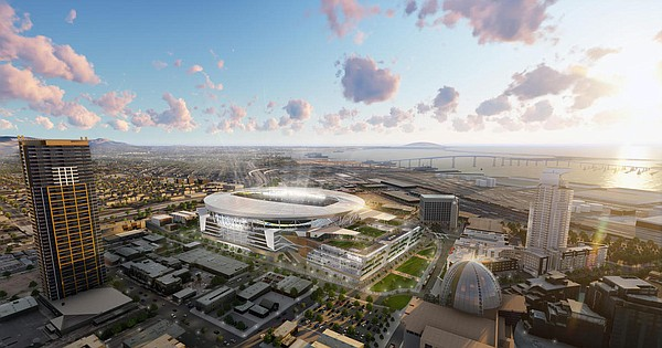 An undated illustration of a proposed Chargers stadium in...