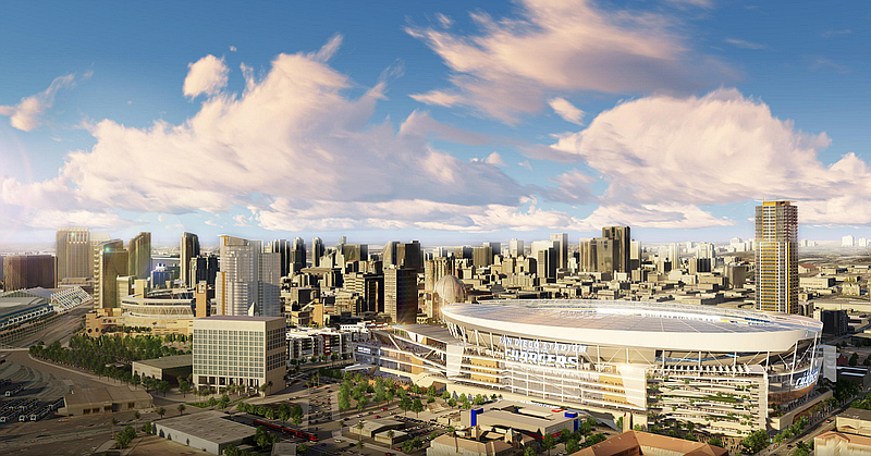 The proposed downtown Chargers stadium is shown in this undated rendering.