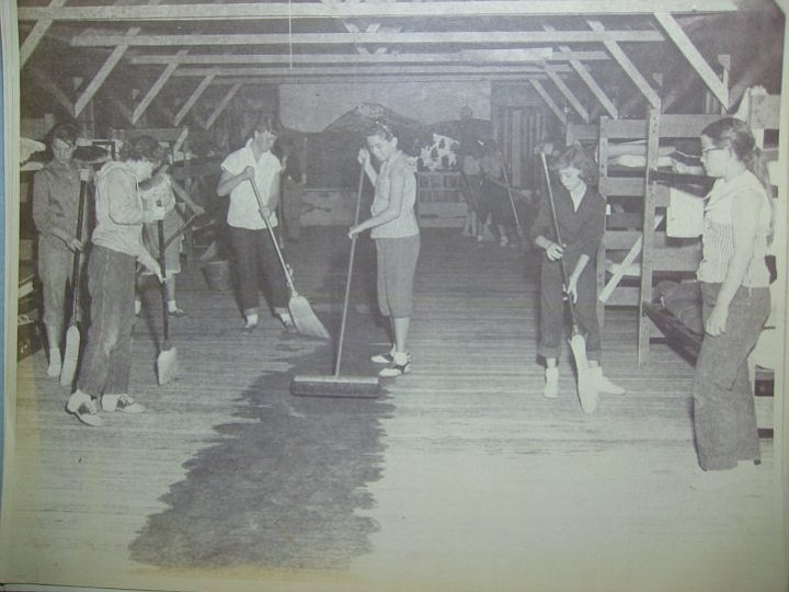 Campers clean their cabin at the Cuyamaca Outdoor School in this undated photo.