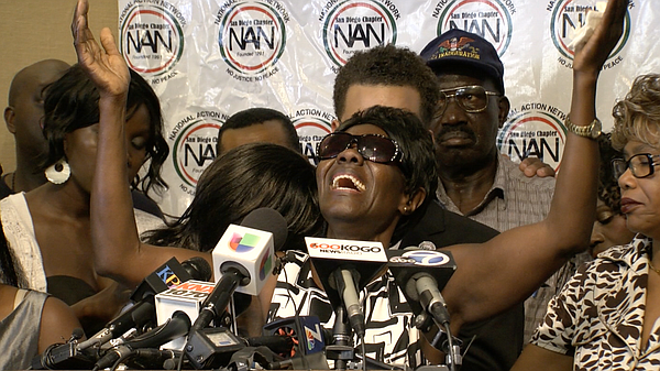 Alfred Olango's mother, Pamela Benge speaks during a news...