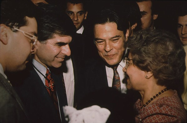 Willie Velasquez with Michael Dukakis at an event in San ...