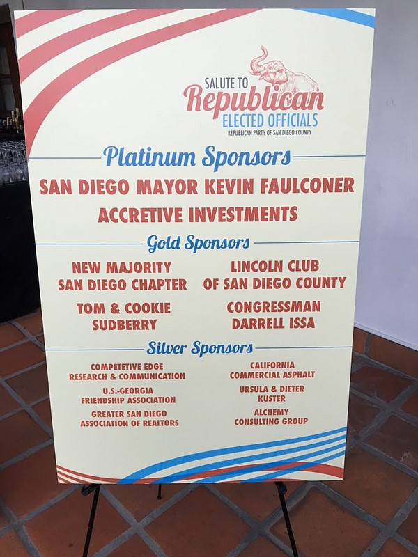 A sign recognizes the sponsors of the Salute to Republica...