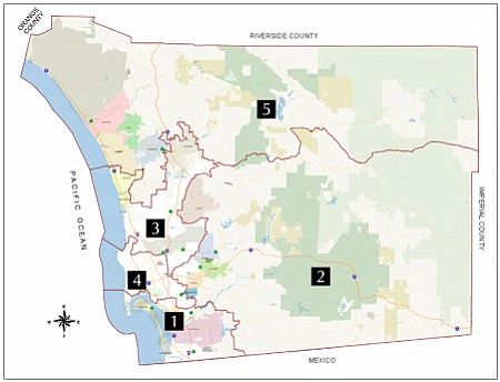 Map of San Diego County Supervisors Districts