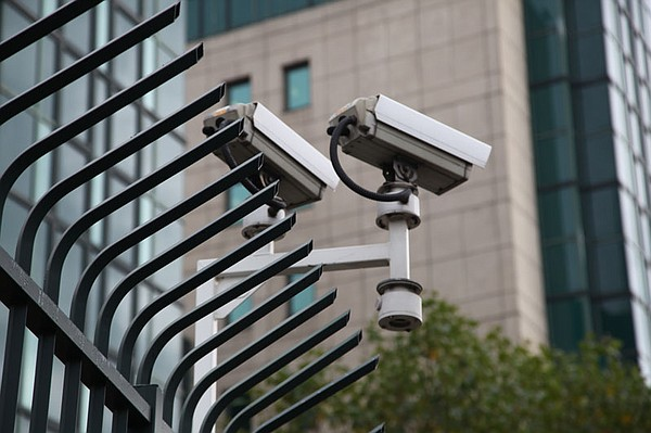 Security Cameras outside the M15 building, London.