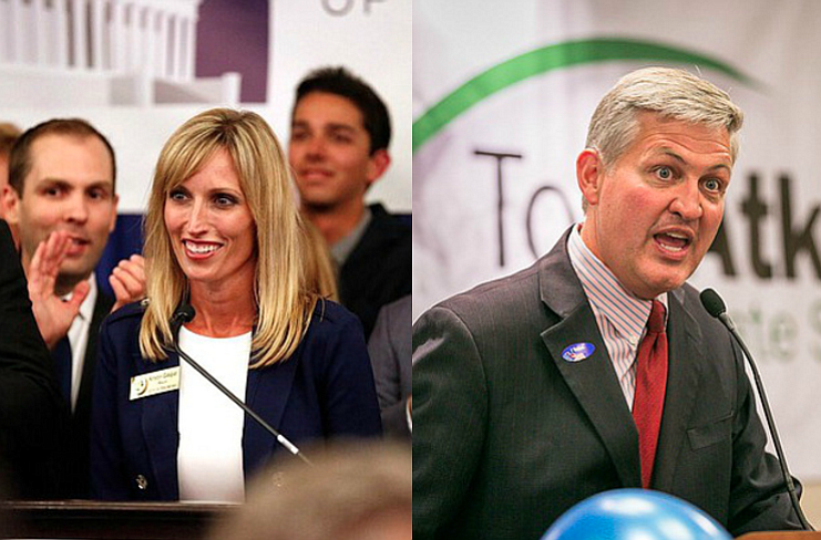 Kristin Gaspar, left, at the at the U.S. Grant, and Dave Roberts at the Westi...