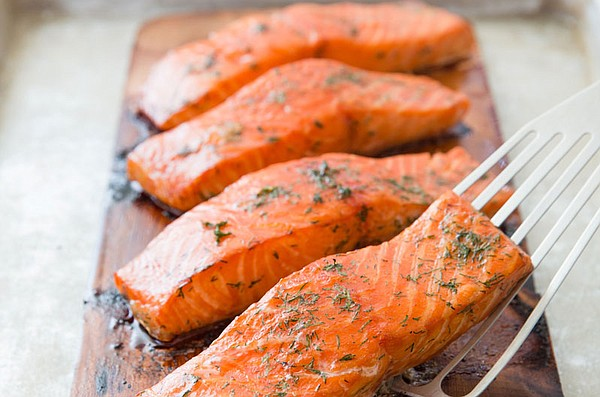 Cedar-planked salmon from episode
