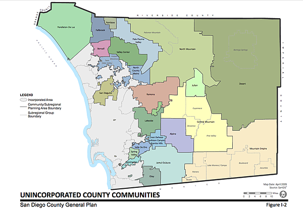 This map shows the unincorporated areas of San Diego, out...