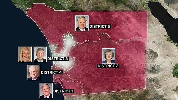 The five San Diego County Board of Supervisors districts,...