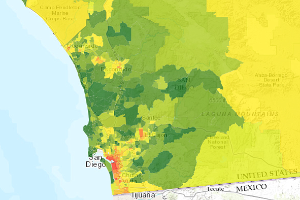 A map from CalEnviroScreen shows areas in green where San...
