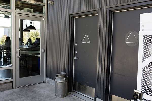 The closed restrooms outside of Stella Public House at Fa...