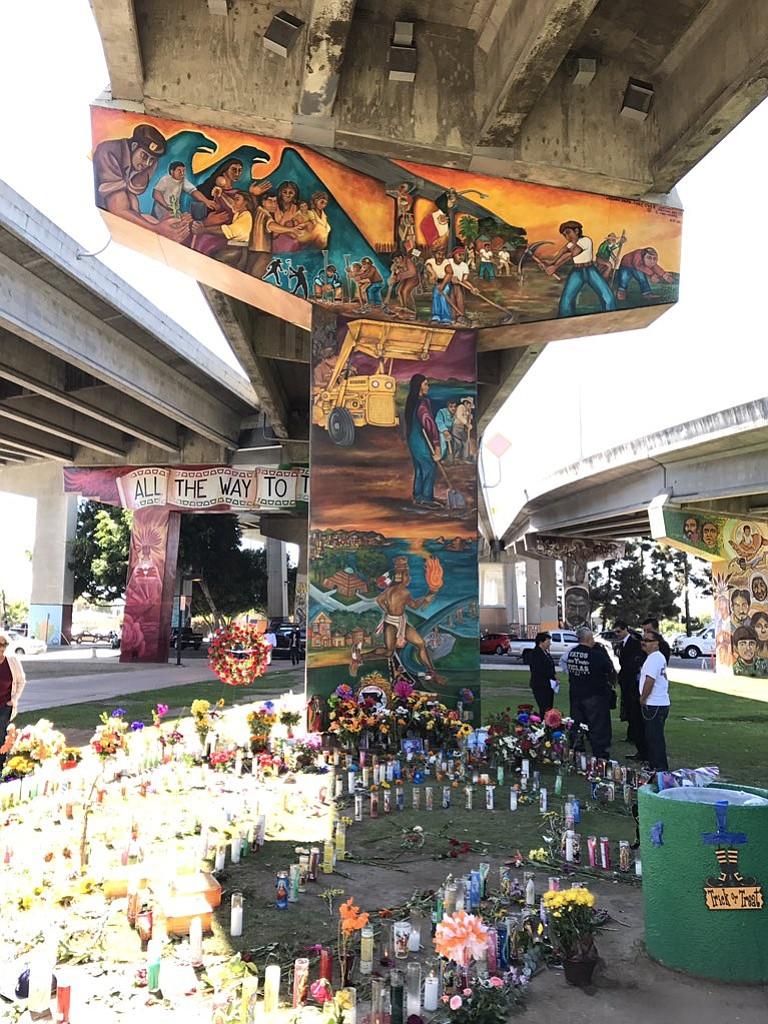 A growing memorial for the four people killed in Chicano Park after a car plu...