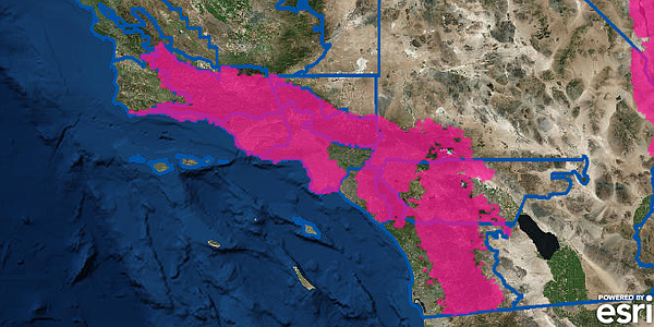 This map of San Diego County shows the regions in pink that are under a red f...