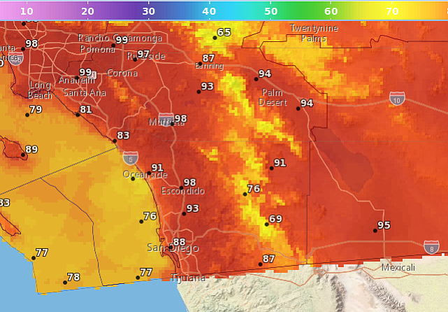 San Diego Weather Fire Conditions Above Average Temperatures Kpbs