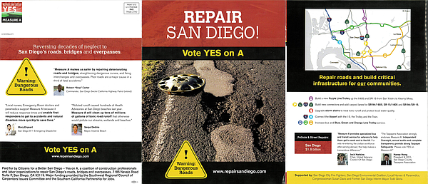 A mailer supporting Measure A touts the potential project...
