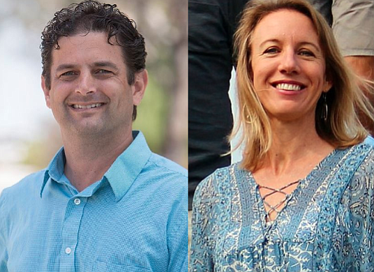 Encinitas mayoral candidates Paul Gaspar and Catherine Blakespear.