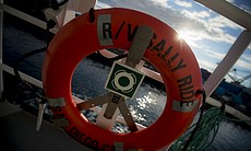 A lifesaver on the research vessel Sally Ride, ...