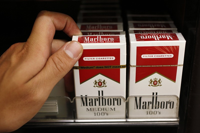 Marlboro cigarettes are shown on display at a liquor store in Palo Alto, Cali...