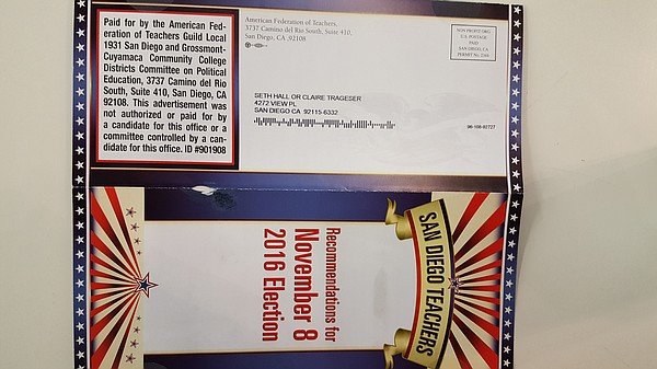 A mailer from the American Federation of Teachers appears...