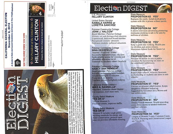 A campaign mailer sent by Election Digest appears in this...