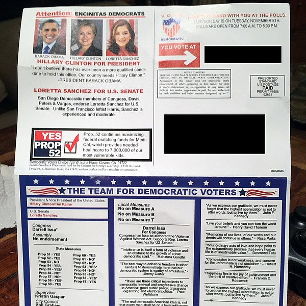 A campaign mailer sent by Democratic Voters Choice appear...