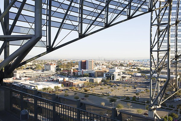 A view of the downtown San Diego area where a proposed do...