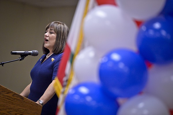 Rep. Loretta Sanchez speaks to supporters, Nov. 8, 2016.