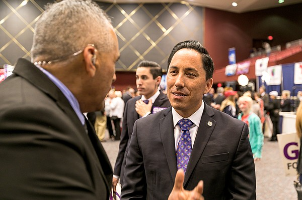 California State Assembly candidate Todd Gloria talks to San Diegans at Golde...