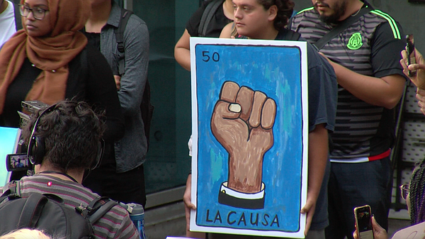 Protestors gathered at San Diego City College, Nov. 9, 20...