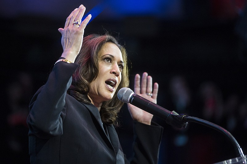 Senator-elect Kamala Harris speaks to supporters on election night, Nov. 8, 2...