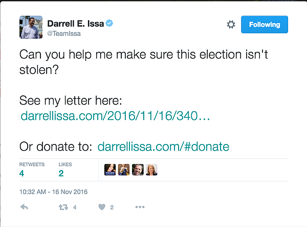 A screenshot of a tweet from Rep. Darrell Issa's campaign account, taken Nov....