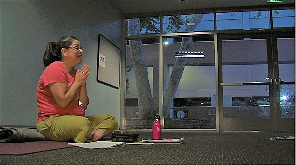 Lisa Bandong, who teaches a prenatal yoga class in San Marcos, is shown on Au...