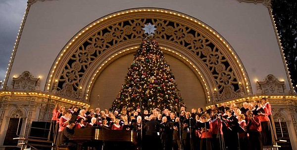 A choir sings during the December Nights holiday festival...