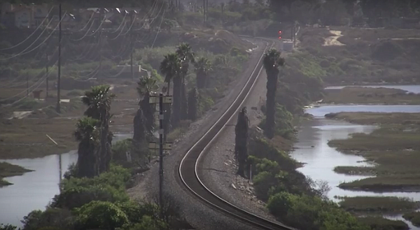 The existing single track rail line across the San Elijo ...