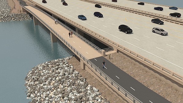 An artist's rendering shows Interstate 5 with carpool lan...