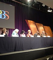 "Susan Polis Schutz leads discussion following screening of her film, ""The Misunderstood Epidemic: Depression"" at KPBS Shiley Studio, 2010.  Susan Polis Schutz and Stephen Schutz are the 2017 KPBS Hall of Fame Visionary honorees."