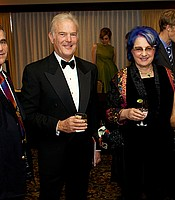 Susan Polis Schutz and Stephen Schutz are the 2017 KPBS Hall of Fame Visionary honorees.  Left to right: Stephen Schutz, Dick Hertzberg (2011 inductee), Susan Polis Schutz, and Carol Hertzberg (2011 inductee) at KPBS Celebrates the Sixites, October 9, 2010.