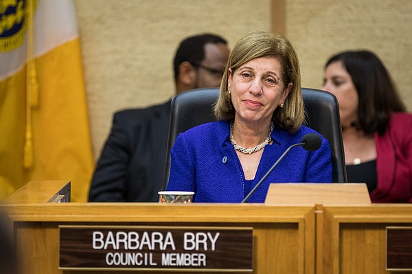 San Diego City Councilwoman Barbara Bry sits at the dais,...