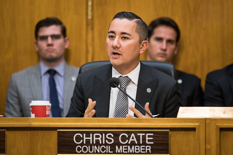 San Diego City Councilman Chris Cate speaks during a council meeting, Dec. 12...