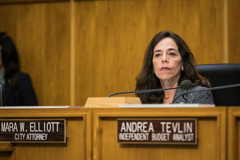 San Diego City Attorney Mara Elliott sits at the dais, Dec. 12, 2016.