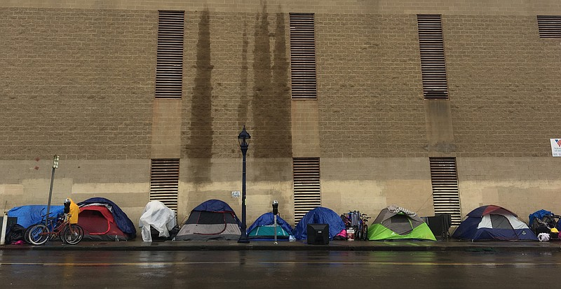 Tents line 16th Street near Imperial Avenue in downtown San Diego, Dec. 30, 2...
