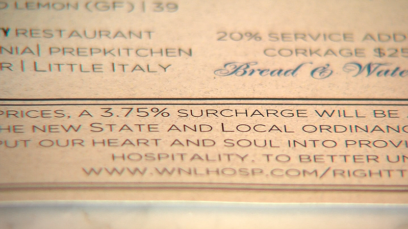 A note at the bottom of the menu at the Catania restaurant explains a new 3.7...