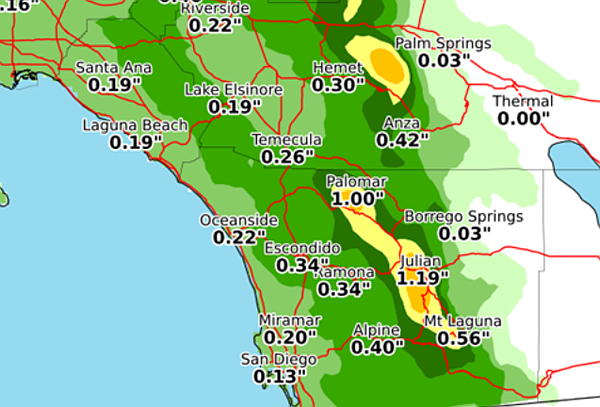 This map of San Diego County shows expected rainfall tota...