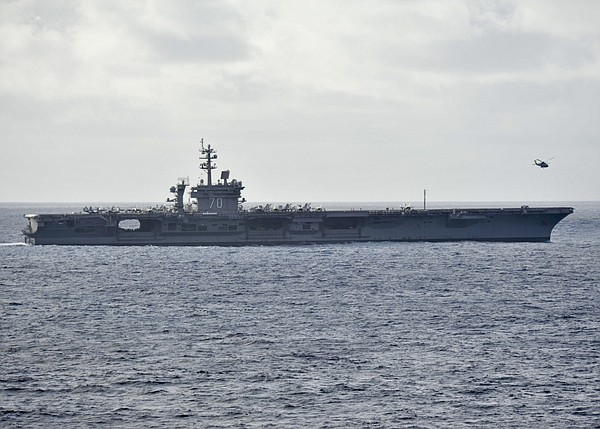 USS Carl Vinson sails through off the coast of Southern California.