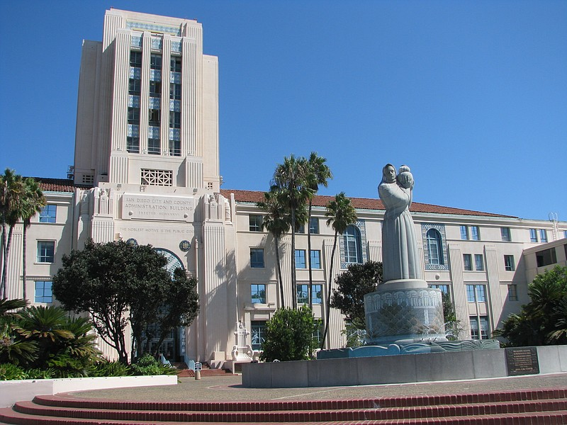 The San Diego County Administration Building downtown is shown in this undate...
