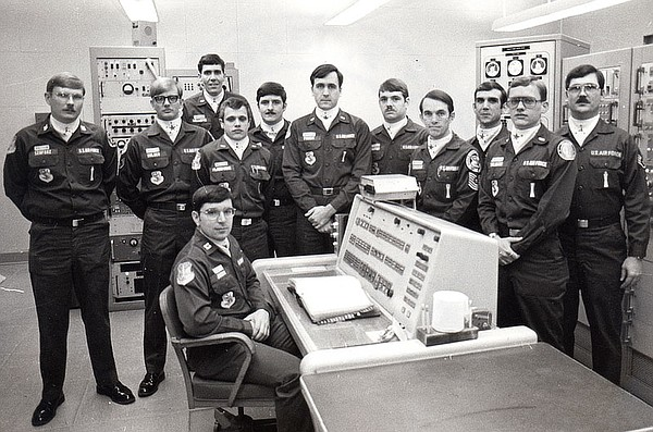 The crew in the control room in Damascus, Ark., including...